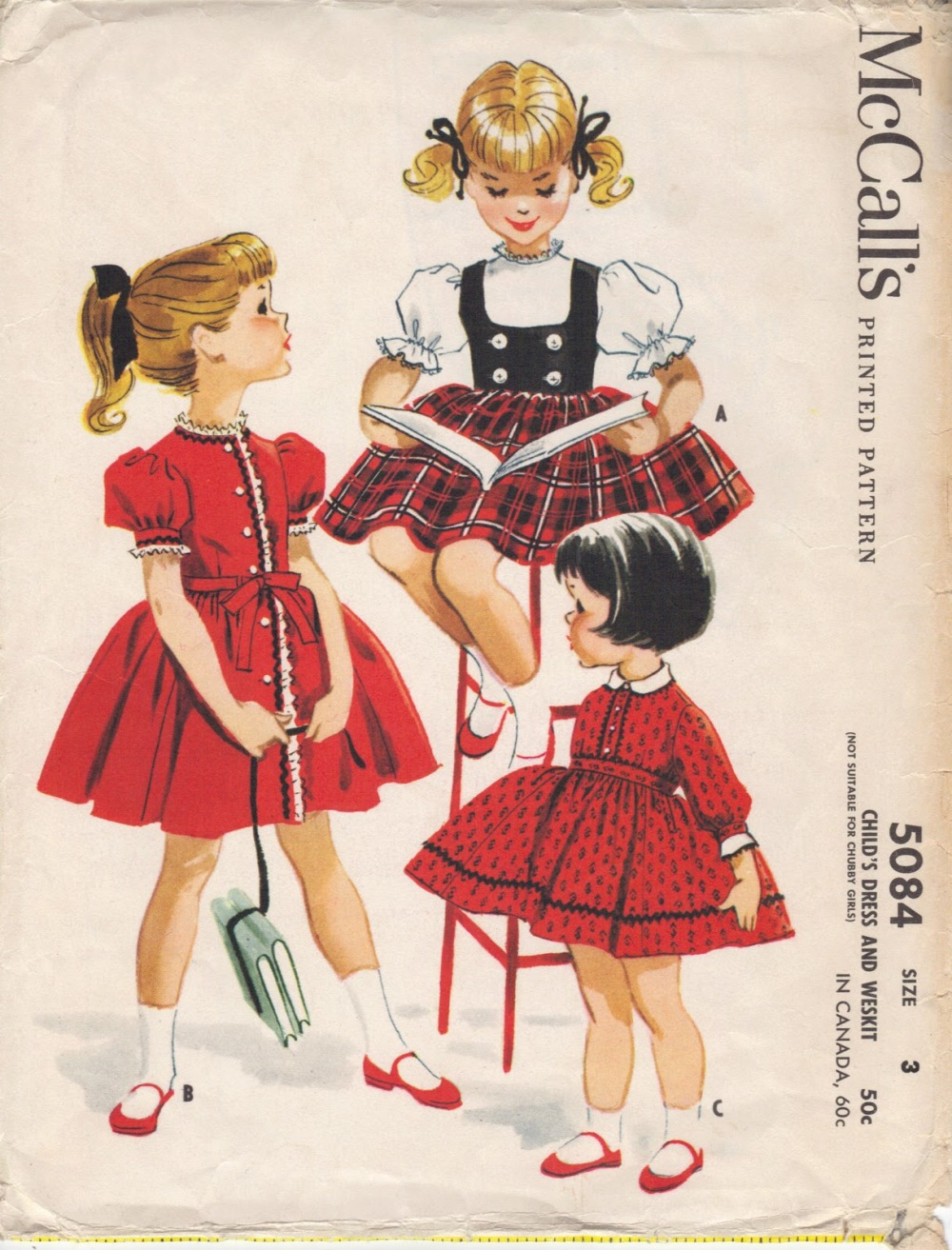vintage childs sewing pattern mccalls