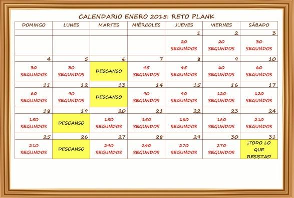 Calendario: reto plank