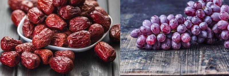 Dátiles y uvas